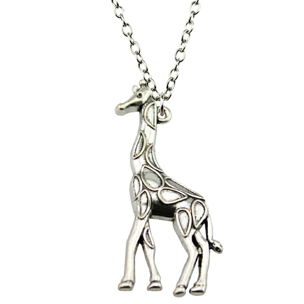 love gold outline pendant giraffe in simple products heart original necklace animal charm on