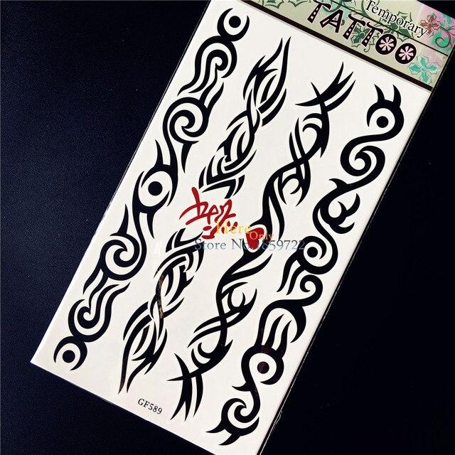 Negro Thorns Totem Tatuaje Temporal Pegatina Para Hombres Mujeres