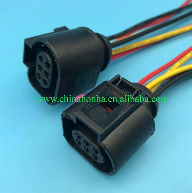 free shipping 10pcs/lot sensor connector wiring harness 1j0973713 style o2  sensor 6 way adapter pigtail 15cm wire