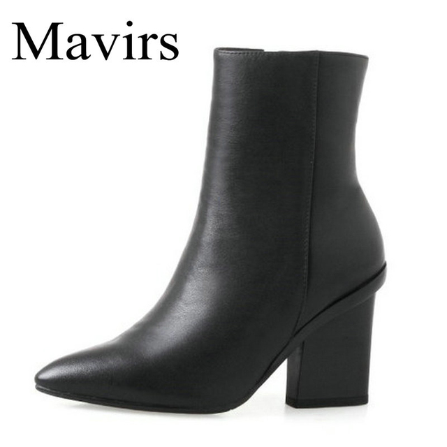 ef9b15c8316 Mavirs Chunky Genuine Leather Boots 2018 Sexy 8CM High Heels Ankle Boots  For Women Black Booties US Size 4-10