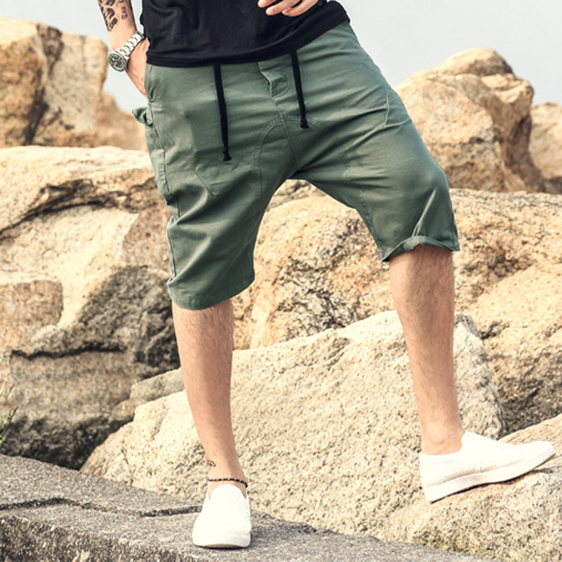 Men Summer Cargo   Shorts   Bermuda Homme solid casual men Mens   Short   Pants Jogger men Clothing Beach drop crotch Boardshorts k306