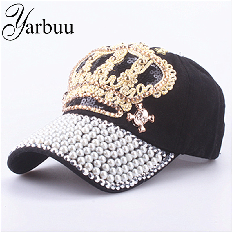 [YARBUU] Baseball caps 2017 New style crown cap for women sun hat Pearl hat denim and cotton snapback cap wholesale [yarbuu] baseball caps new fashion good quality solid snapback cap for embroidery 89 sun hat for men and women free shipping