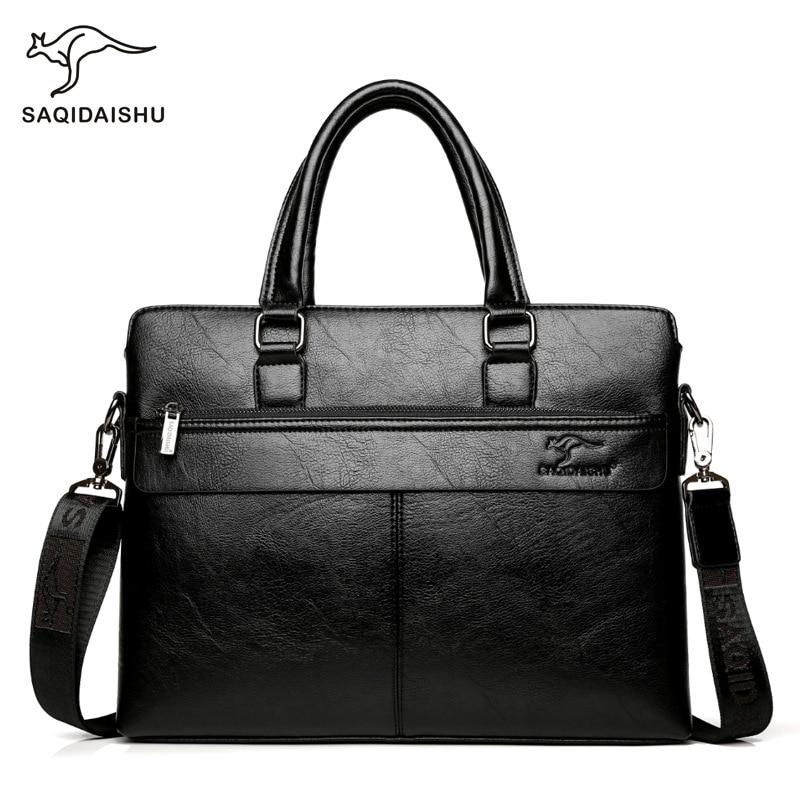 New Design Men's Casual Shoulder Crossbody Bag PU Leather Business Briefcase Messenger Laptop Handbag Travel Bag Handbag For Men