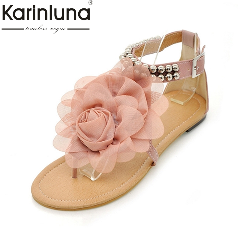 KARINLUNA Bohemia Women Summer Flower Shoes Woman Beading Ankle Strap Flat Sandals Ladies Open Toe Leisure Beach Footwear high quality fashion women sandals flat shoes summer pee toe sandals indoor&outdoor leisure shoes dropshipping ma31
