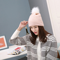 New Fashion Outdoor Gorro Cap Women Fur Hat Winter Fur Pompom Hat Natural Fur Beanies Knitted Wool Cotton Hat