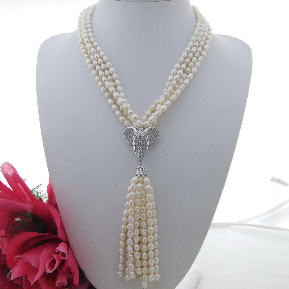 FC121004 19 4 Strands White Rice Pearl Necklace CZ PendantFC121004 19 4 Strands White Rice Pearl Necklace CZ Pendant