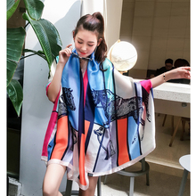180cm Spain euro Summer silk scarf women Contrast color Horse printed large long for travel Shaw Bandana stole