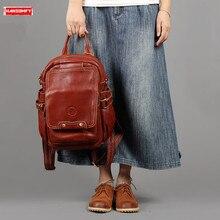 Women Backpack Female Shoulder Bag Leather Lady Travel School Retro Backpacks Brown Handmade First Layer Real Cowhide Solid Bag
