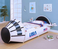 Creative Cartoon Car Bed Iron White Space Bed For Children