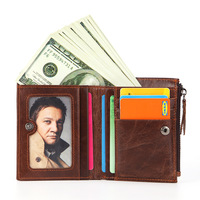 Leather wallet men's short wallet multi function coin purse zipper bag oil wax leather wallet credit card holder
