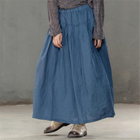BUYKUD Spring Summer 2018 Elegant Loose Women Cotton Linen Blue Vintage Robe Pleated Skirt