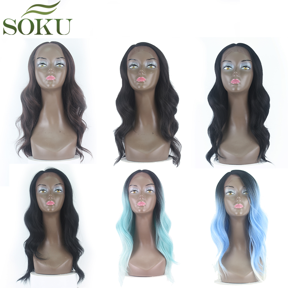 SOKU Wigs Side-Part Lace-Front Heat-Resistant Body-Wave Black-Women Synthetic Ombre Long-Hair