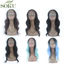 SOKU Synthetic Lace Front Wigs For Black Women Ombre Blue Body Wave Lace