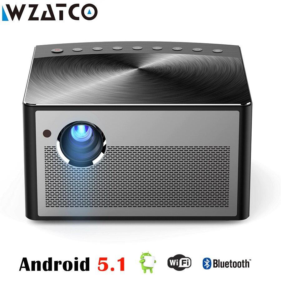 WZATCO H1 Smart LED Projecteur 6000 Lumens 2G + 16G Android 5.1 OS WIFI HDMI MINI Projecteur DLP soutien 1080 P Home Cinéma Beamer