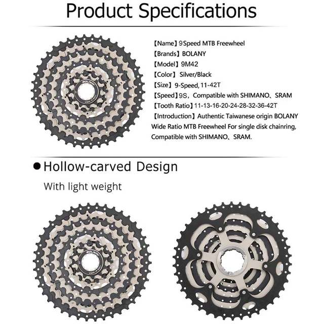 BOLANY Cassette 9 Speed Gear Ratio 11 42T MTB Bicycle Freewheel Sprocket  Silver black Mountain Bike Accessories For Shimano-in Bicycle Freewheel  from