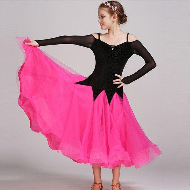 Розовый Современные девушки Танцы Детские костюмы бальных танцев платья Стандартный Бальные танцы одежда конкурс Стандартный Танцы платье