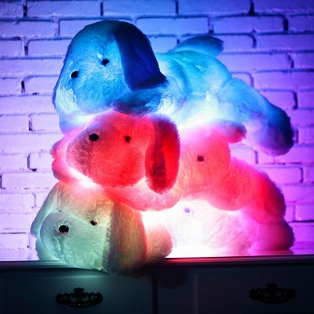 Новый Год 50 СМ и 80 СМ Длина Творческий Вечер Свет ПРИВЕЛ Прекрасный собака Чучела и Плюшевые Игрушки Лучшие Подарки для Детей и Друзей