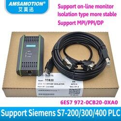 Compatible Siemens S7-200/300/400 de programación de PLC, Cable 6ES7972-0CB20-0XA0 USB-MPI aislado MPI/PPI/DP/PROFIBUS adaptador USB MPI