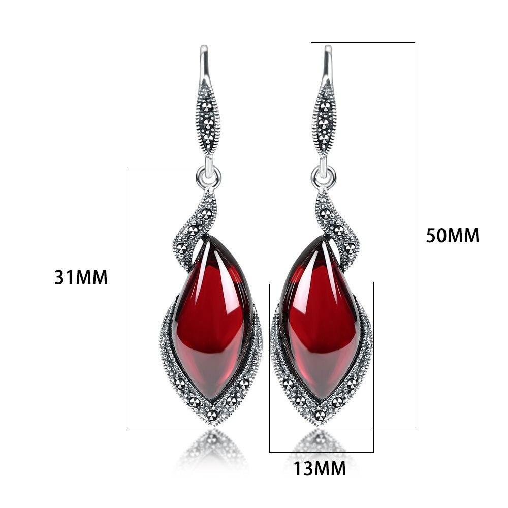 JIASHUNTAI Retro sidabro auskarai moterims 925 Sidabriniai raudoni - Brangūs papuošalai - Nuotrauka 2