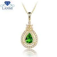 New Arrival Natural Tsavorite Pendant Necklace Real 14K Yellow Gold Good Gem Charming Diamond Jewelry Women Christmas Present