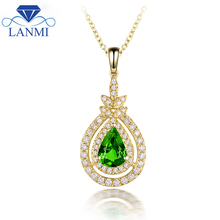 New Arrival Natural Tsavorite Pendant Necklace Real 14K Yellow Gold Good Gem Charming Diamond Jewelry  Women Christmas Present