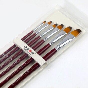 6 Adet Transon213 Fındık Baş Naylon Sanatçı Fırça Seti Kırmızı Kolu