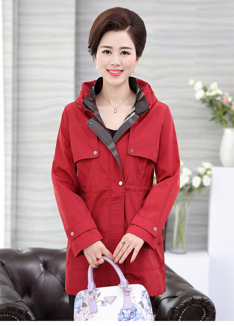 British Style Woman Beige Trench Coat Red Black Overcoat Middle Aged Women\'s Casual Trench Lady Casual Duster Coats 40s 50s 60s Windbreakers (25)