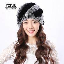 YCFUR женские Шапки Шляпы Зима Теплая Природный Рекс Кролика Шапочки Шапки Зимние Натуральный Мех Женщины Шляпа Для Женщин