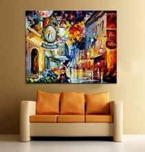 100% Hand Painted Palette Knife Charming Architectures in The City Canvas Oil Painting Frameless Wall Art for Living Room