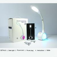 USB Rechargable Desk table Lamp 34pcs 3528 leds Eye protect Touch Sensor switch colorful reading light DC 5V 5w