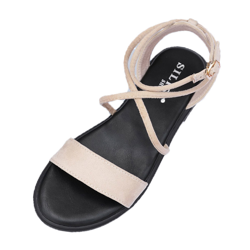 Most Popular High Quality Women Fashion Suede Solid Color Peep Toe Cross Tied Buckle Flat Shoes Elegant Casual Sandles For Girls