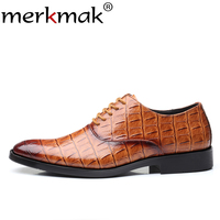 Merkmak New Exquisite PU Crocodile Oxfords Shoes Men Luxury Man Shoe Wedding Party Comfortable Men Footwear Flat Big Size38 48