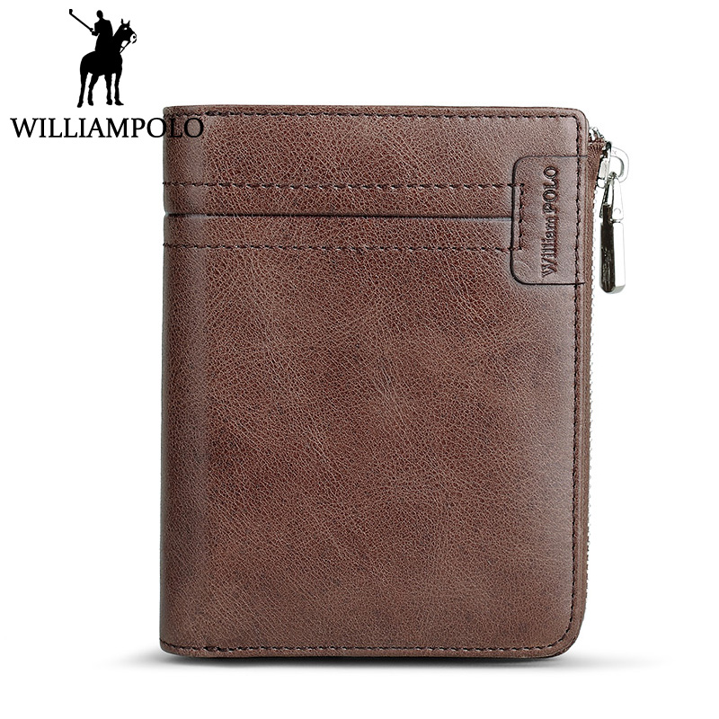 WILLIAMPOLO Vintage Genuine Leather Card Holder Wallet Men Short Purse Purple Zipper Pouch For Women Lover Gift Cowhide Wallets williampolo mens zipper wallet genuine leather short purse cowhide card holder wallet coin pocket business wallets new year gift