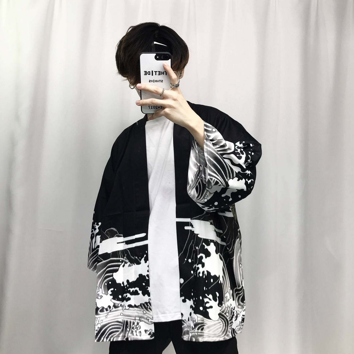 2018 summer mens kimono japanese clothes streetwear casual kimonos jackets harajuku japan style cardigan outwear