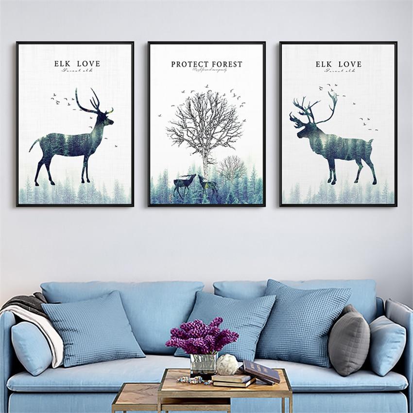 Animal Home Decor: Animal Geometry Elk Poster Image Home Living Room Decor