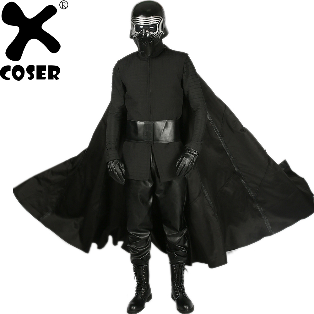 XCOSER Kylo Ren Cosplay Costume Star Wars Episode VIII The Last Jedi Cosplay Outfits Black Halloween Cosplay Costume for Men