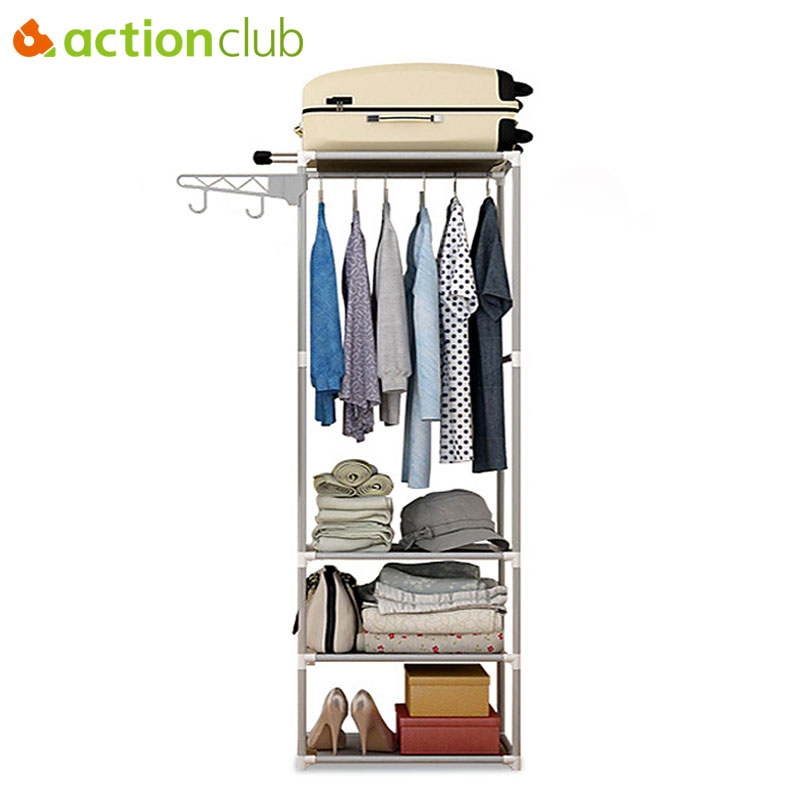 Actionclub Simple Coat Rack Floor Clothes Hangers Creative Clothing Rack Shelf Easy Assembly Bedroom Hanging Clothing Racks стоимость