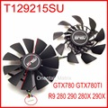 2pcs/lot EVERFLOW T129215SU 12V 0.5A 94mm For ASUS GTX780 GTX780TI R9 280 290 280X 290X Graphics Card Cooling Fan