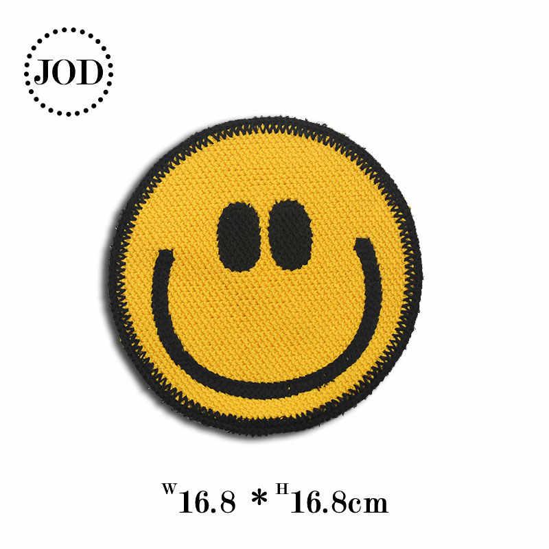 Большой Эмодзи-Смайл лицо нашивки для одежды заплатки с вышитыми аппликациями полосы на нашивки на одежду для одежды аксессуары значки