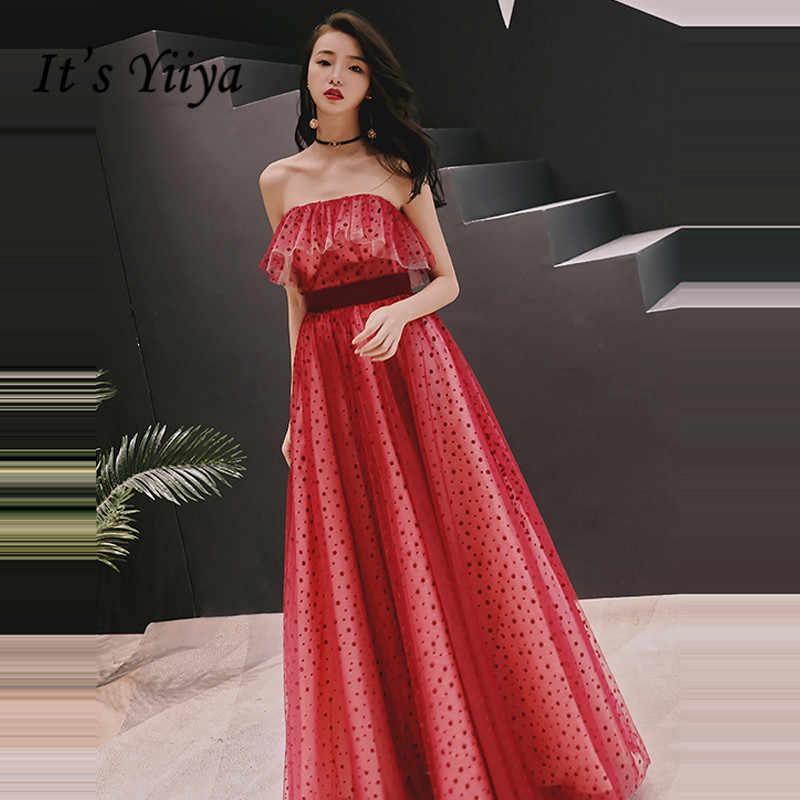 213ef3cda23 Это YiiYa вечернее платье 2018 красный горошек без бретелек оборки для  беременных трапециевидной формы в Пол