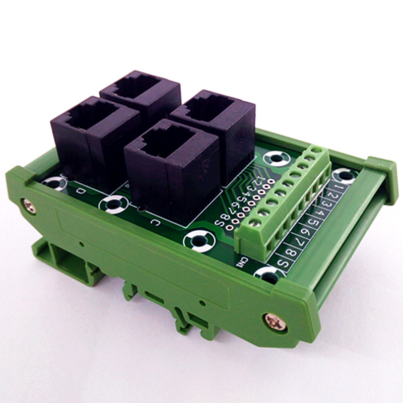 DIN Rail Mount RJ45 Module, RJ45 8P8C Jack 4-Way Bus Sfe, Bornier, connecteur.