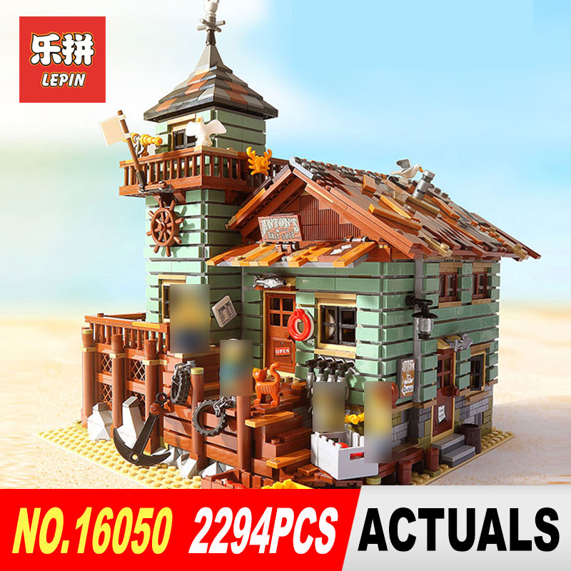 Lepin 16050 Creative MOC Series The Old Finishing Store Set Compatible With 21310 Educational Building Blocks Bricks Toys Model lepin 16050 model building kits compatible with lego 21310 2109pcs moc series the old fishing store set building blocks bricks