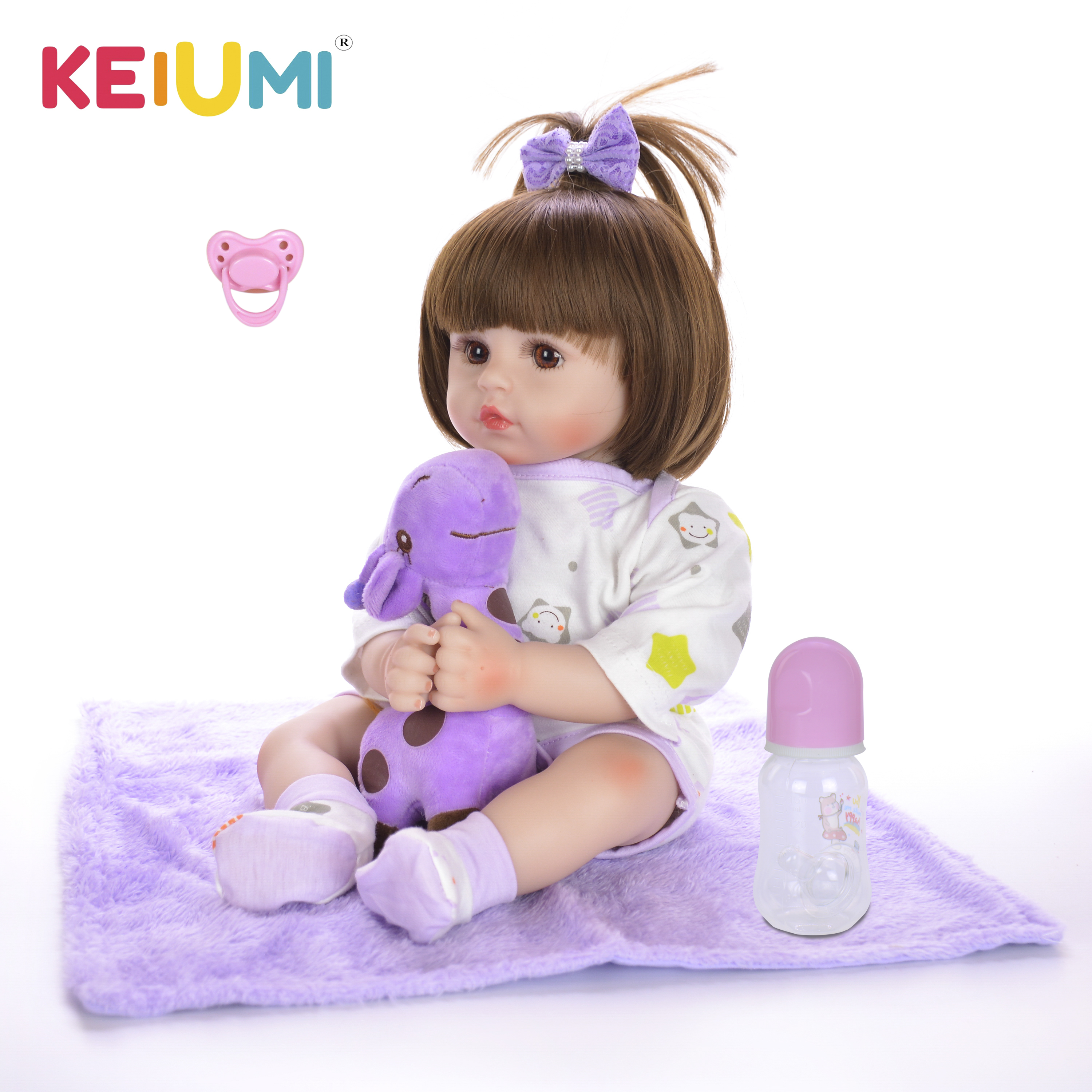 KEIUMI New Design Reborn Baby Doll Soft Silicone Customized Doll Baby Toy For Kids Birthday Gift 3 5 Year Old Girl Playmate-in Dolls from Toys & Hobbies    1