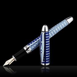 Picasso Rotonda di Ballo di Fiori 10K Oro Penna Stilografica Pennino di Mare di Colore Blu con Scatola Regalo Originale per la Scrittura dono di Raccolta