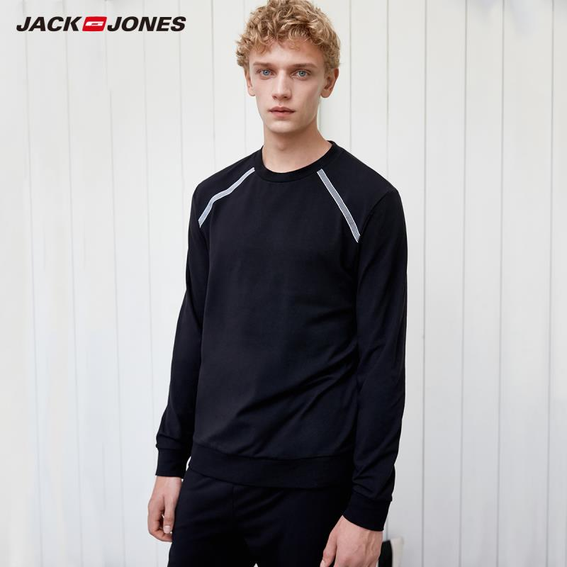 JackJones Men's Stretch Cotton Round Neckline Long-sleeved T-shirt Pullover Tops|2191HE504
