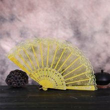 Silk Cloth Blank Chinese Folding Fan Wooden Bamboo Fan Chinese Style Dance Wedding Party Lace Silk Folding Hand Held Flower Fan(China)
