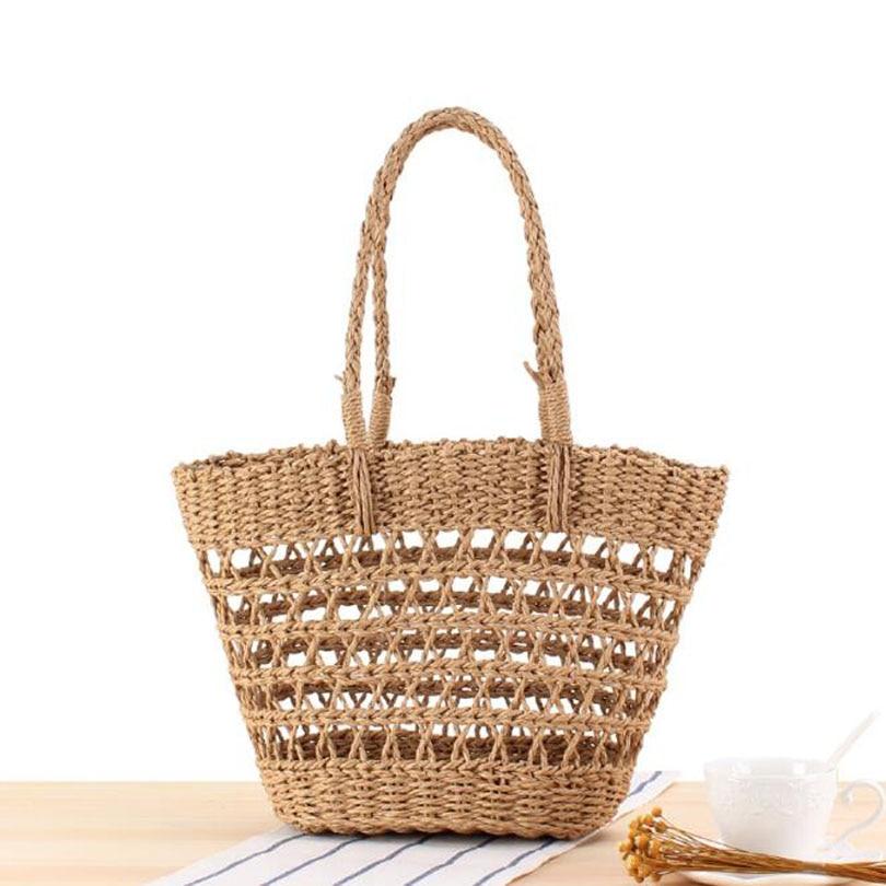 Hollow Out Summer Women Straw Beach Shoulder Bag Famous Designer Bohemian Ladies Woven Knitting Handmade Travel Bags