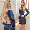 2017 azul bonito curto mini prom dress backless manga longa Apliques de renda Vestido De Festa Formal Vestido de Festa Plus Size Handwork