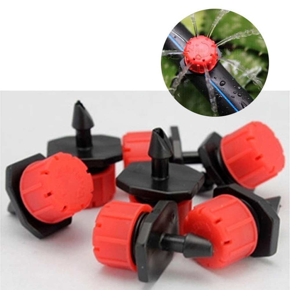 100pcs Micro Flow Dripper Drip Head Water Dropper 1/4inch Adjustable Hose Garden Irrigation Misting Water Dropper