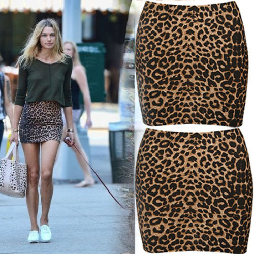 Women Fashion Leopard Print Mini Skirt Cocktail Party Stretch Slim Mini Skirt Clubwear